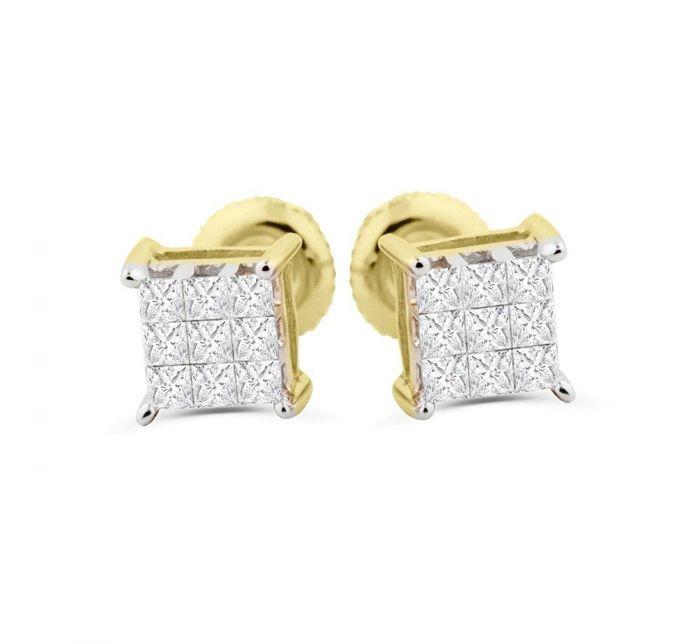 Princess Cut Diamond Earrings 1 4ctw 10k Gold Real Stud Back Mens Or Womens 5 5mm
