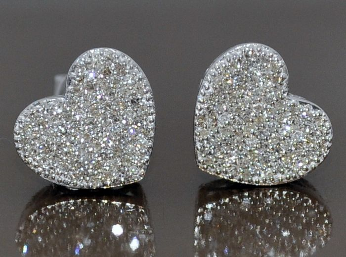3186d30554ef5 HEARTS DIAMOND STUD EARRINGS 0.5CT 10K WHITE GOLD SCREW BACKS MICRO PAVE  10MM
