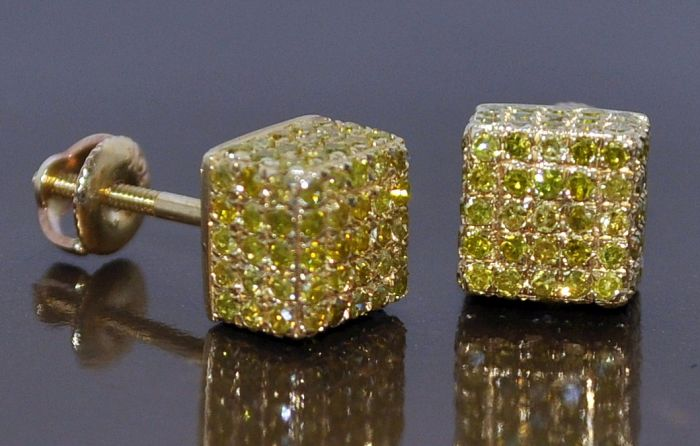 Yellow Diamond Stud Earrings Mens Cube Canary 1 1ct 10k Gold Square 7mm