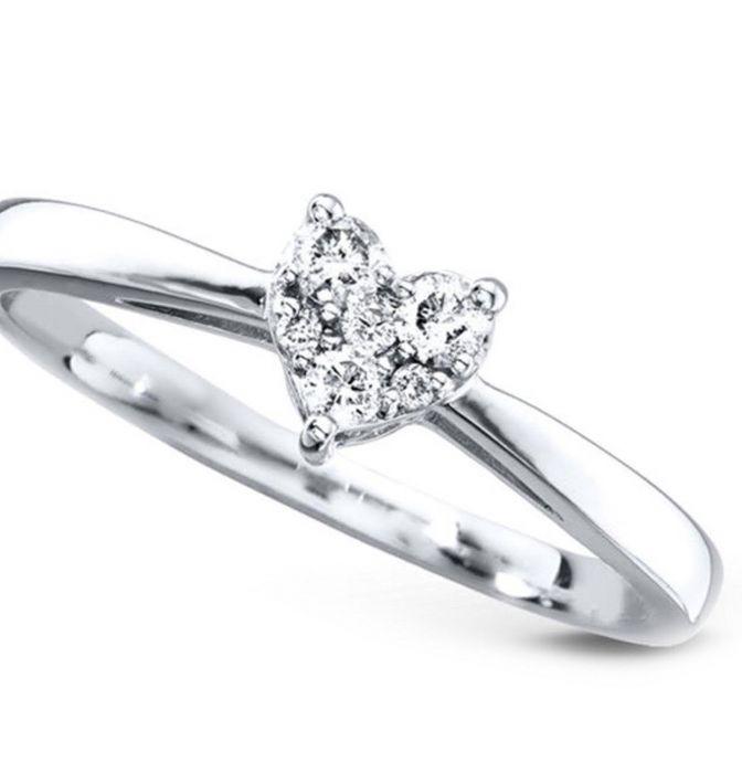 d3e84ee4644499 10K White Gold Diamond Heart Ring 0.15ctw Promise Ring or Engagement Ring  for Her