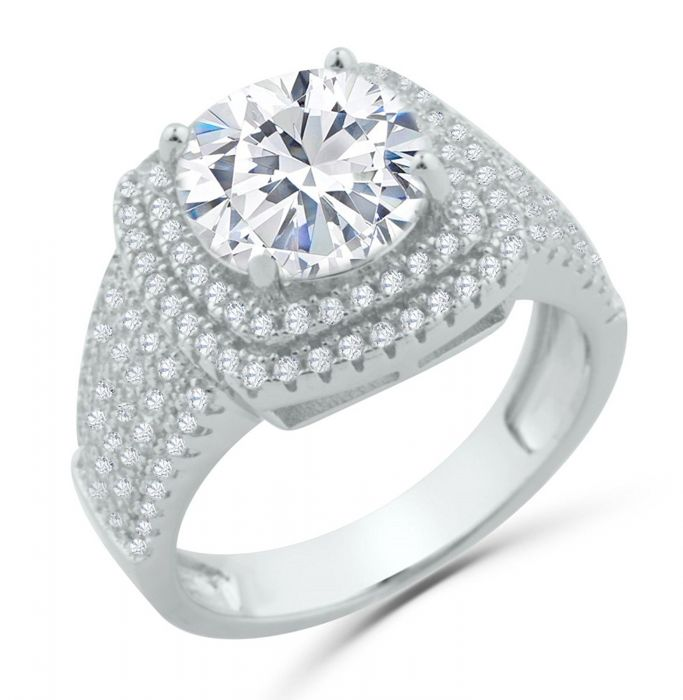 Ladies Engagement Ring 3ctw Simulated Diamonds Sterling Silver