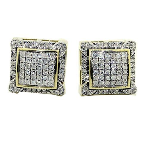 Mens Large Diamond Earrings 10mm Wide Real 10k Gold And 0 2ct Back