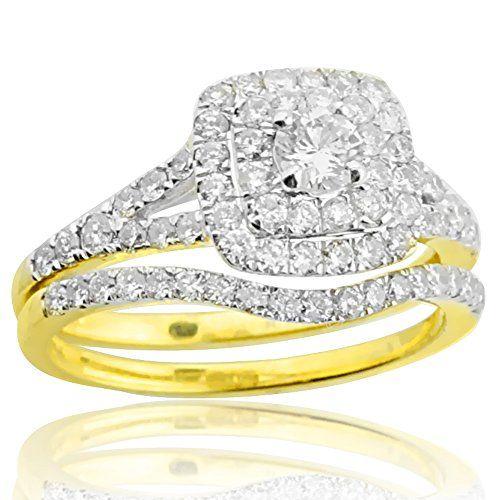 1 00ctw Diamond Wedding Ring Set 14k Yellow Gold Double Halo Style