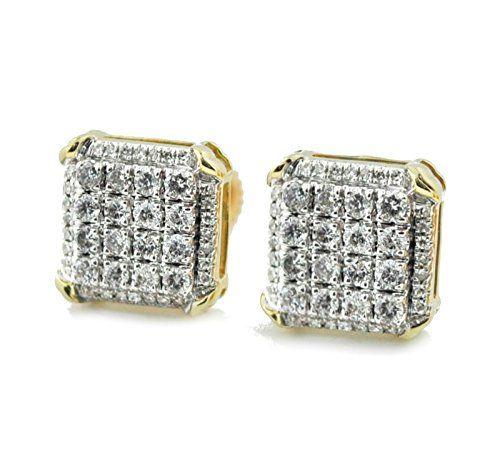 d3cee0431f89b 10K Gold Diamond Earrings 0.45ctw Mens or Women 10mm Wide Square Shaped  Fancy Screw Back Earrings