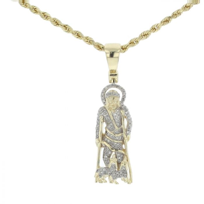 b880bf1d6fd 10K Gold Saint Lazarus Pendant On Crutches With Dogs Status 0.28ctw Diamond  39mm