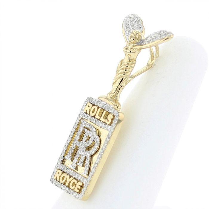 10K Gold Rolls Royce Custom Diamond Pendant 0 37ctw Diamonds Mens Diamond  Charm