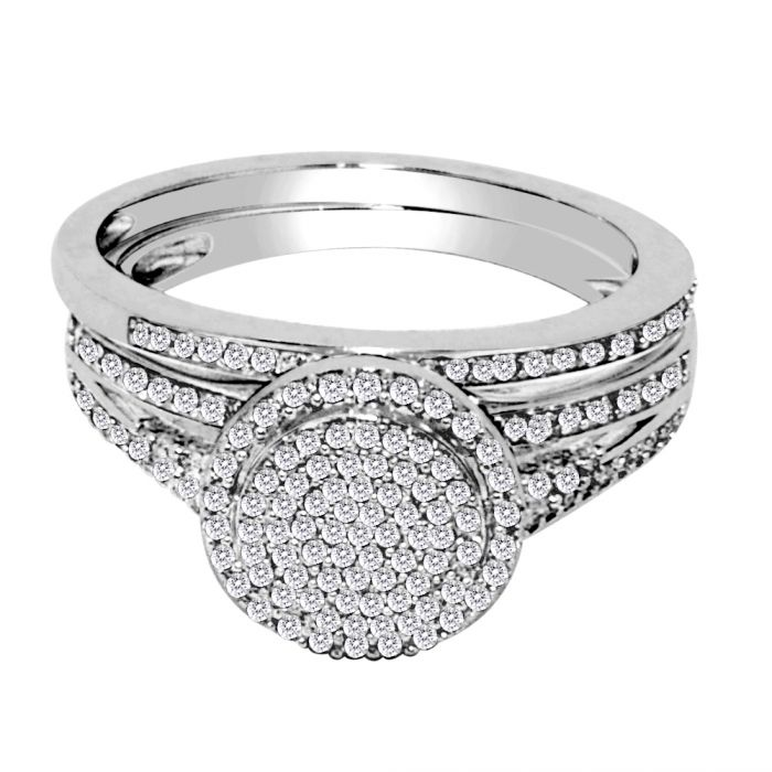 Halo Style Bridal Wedding Ring Set 10k White Gold 0 4ctw Diamonds