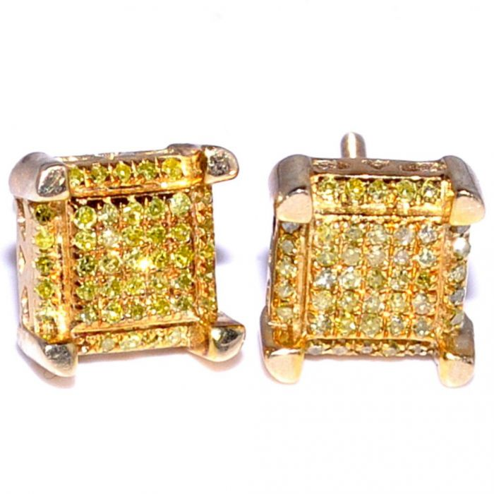 Yellow Canary Diamond Earrings Studs 10k Gold 0 25ct 7mm Wide Cube Shaped