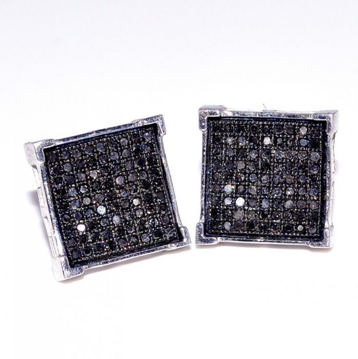 Black Diamond Earrings 0 5ct Large 12mm Square Back Sterling Silver Stud Princess Cut