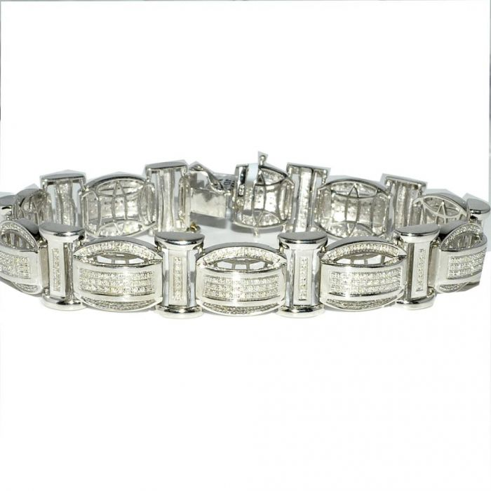 b8763234bbb31 Men's Diamond Bracelet 1ct w Sterling Silver 500 Diamonds White Gold finish  Measures 15MM Wide