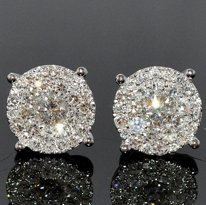2d2805958 Diamond Stud Earring 1.85ctw XL Big Round Cluster Large Solitaires 11mm  Screw bk