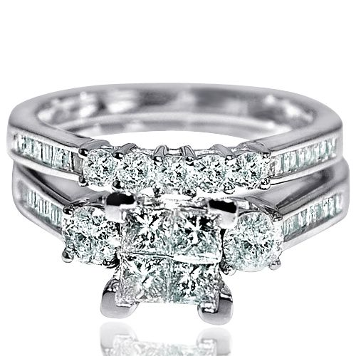 47c521e28804b6 1.6ct Princess Cut bridal Rings set Engagment and matching wedding band 14K  white gold