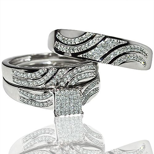 His And Her Rings Trio Wedding Set White Gold 0 4ct Diamonds