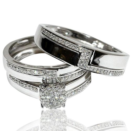 Real Diamond Trio Wedding Set His And Her White Gold 3 Piece Set 0 33ct W Pave