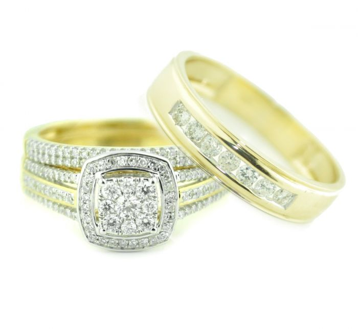 Wedding Rings Sets.10k Gold His And Her Rings Set Engagement Ring Set Trio Wedding Rings 3 4ctw