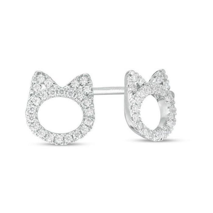 10k White Gold Womens Diamond Cat Earrings Studs 1 4ctw For Her