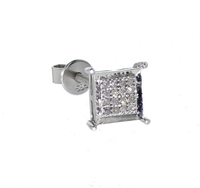 White Tone Sterling Silver Diamond Earring Single For Men With 0 10ctw