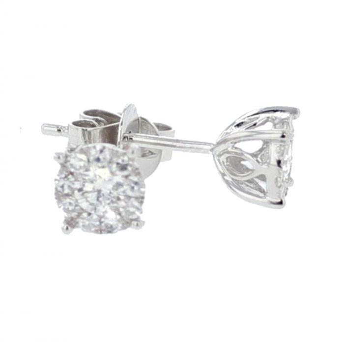 e339e50aa9fe5 14K White Gold Diamond Earrings Mens or Womens 1/5ctw 4.5mm Round Screw Back