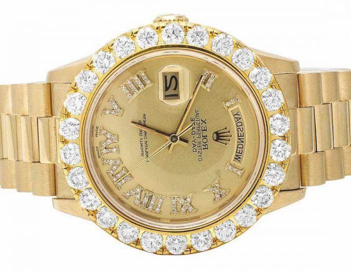 18k Gold Rolex Presidential Watch Mens With Custom Diamond Bazel 7ct