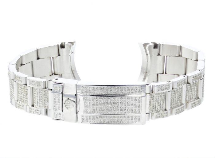 Custom Diamond Bracelet for Rolex 36mm Watch 4ctw Diamonds Stainless Watch  Band