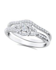 10K White Gold Engagement Ring Set 0.30ctw Diamonds Round Halo Center 2pc Set
