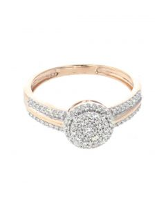 0.25ct Diamond Engagement Ring Bridal Ring 10K Rose Gold Halo Style 8mm New