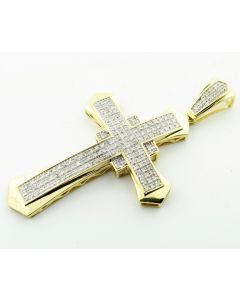 10k Yellow Gold Cross Pendant Charm with 0.48Cttw Diamonds Pave Set 55mm Tall