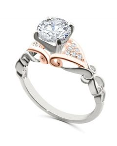 14K White Gold Semi Mount Engagement Ring Setting Rose Gold Tone 1/10ctw Fits 1ct Solitaire