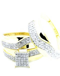 His and Her Trio Rings Set 10K Yellow Gold 0.75ct Diamonds 16mm Wide