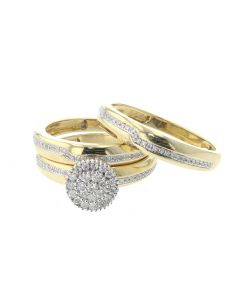 His and Her Beautiful 10K Yellow Gold Trio Set with 0.50ctw Diamonds
