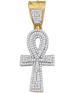 10kt Yellow Gold Mens Diamond Ankh Cross Religious Charm Pendant 1/2 Cttw