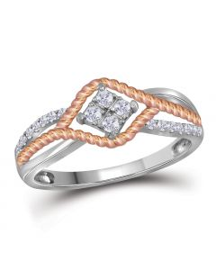10k Two Tone Gold Fancy Ring with 0.20Ct Diamonds