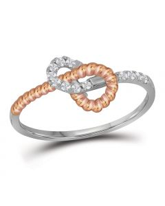 1/6Cttw Diamond Twisted Fashion Ring in 10k Two Tone Gold