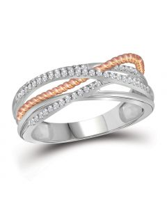 10k Two Tone Gold Criss Cross Ring with 0.25Ct Diamonds