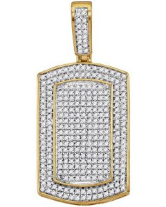 10kt Yellow Gold Mens Diamond Framed Dog Tag Cluster Charm Pendant 7/8 Cttw