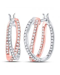 Inside Out Hoop Earrings 14kt Two-tone Gold Round Diamond 2-Row 0.5ct w