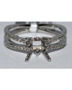 DIAMOND SEMI MOUNT 0.27CT PLATINUM FITS 1.5CT PRINCESS CUT SOLITAIRE 7MM