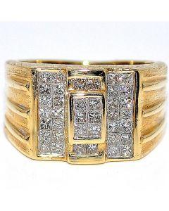 1ct Mens Diamond Ring Princess Cut Diamonds 14K Gold Wedding Ring Pinky 13mm