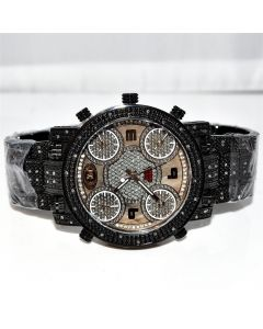Mens Diamond Watch Real Grand Master 5 Time Zone 2 Extra Bands 0.25ct 55mm
