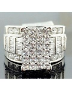 3ctw Bridal Wedding Ring White Gold Finish Silver 3 in 1 Style Princess Cut Baguette and Round