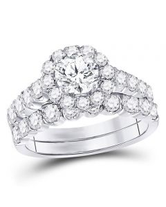 2ctw Diamond Ring Set 14K White Gold Round Halo 0.75ct Center