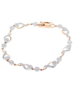 Diamond Ladies Bracelet Infinity Style Fancy Linked Womens Bracelet 1.50ctw Diamond Rose Gold-Tone silver