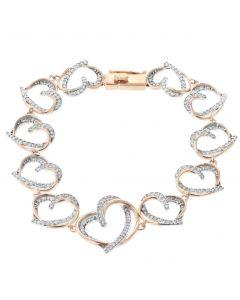 Diamond Bracelet For Women Heart Shaped Bracelet Tennis Bracelet 1.28ctw Rose Gold-Tone Silver