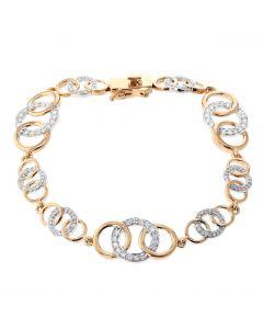 1ctw Diamond Bracelet Womens Linked Circle Design Tennis Bracelet Rose Gold-Tone Silver