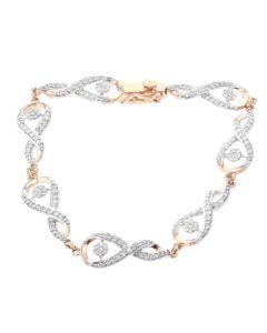 Womens Diamond Bracelet Infinity Design Rose Gold-Tone Silver 1.46ctw Diamond Ladies Bracelet