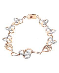 Diamond Knot Bracelet Womens Tennis Bracelet 0.7ctw Knot Style Rose Gold-Tone Silver