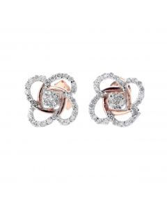 Diamond Earrings for Her Floral Style Flower Design Rose Gold-Tone Silver 0.31ctw