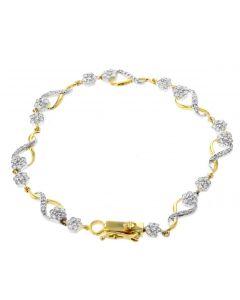 Diamond Ladies Bracelet Infinity Style Fancy Linked Womens Bracelet 1.50ctw Diamond Yellow Gold-Tone silver