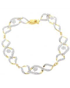 Womens Diamond Bracelet Linked Tennis Bracelet Fancy Design 1.8ctw Yellow Gold-Tone Silver