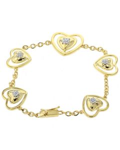 Diamond Womens Bracelet Heart Shaped Linked Tennis Bracelet Yellow Gold-Tone Silver 1/4ctw